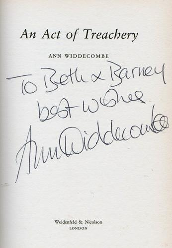 Ann-Widdecombe-autograph-signed-book-novel-an-act-of-treachery-2002-first-edition-mp-maidstone-conservative-party-politics-privy-counsellor-signature-memorabilia