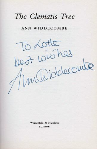 Ann-Widdecombe-autograph-signed-book-novel-the-clematis-tree-first-edition-mp-maidstone-conservative-party-politics-privy-counsellor-signature