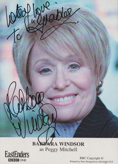 Barbara-Windsor-autograph-signed-Eastenders-tv-memorabilia-dame-peggy-mitchell-soap-queen-vic-carry-on-films-bbc-babs-signature