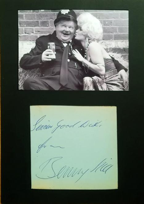 Benny-Hill-autograph-Benny-Hill-memorabilia-signed-TV-memorabilia-The-Benny-Hill-Show-Benny-Hills-Angels-Fred-Scuttle-Ernie-Fastest-Milkman-in-the-West-Italian-Job-Vicki-Facey