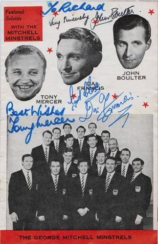 Black-and-White-Minstrels-memorabilia-Dai-Francis-autograph-tony-mercer-signed-john-boulter-signature-soloists-music-cabaret-tv-stage-george-mitchell-minstrels
