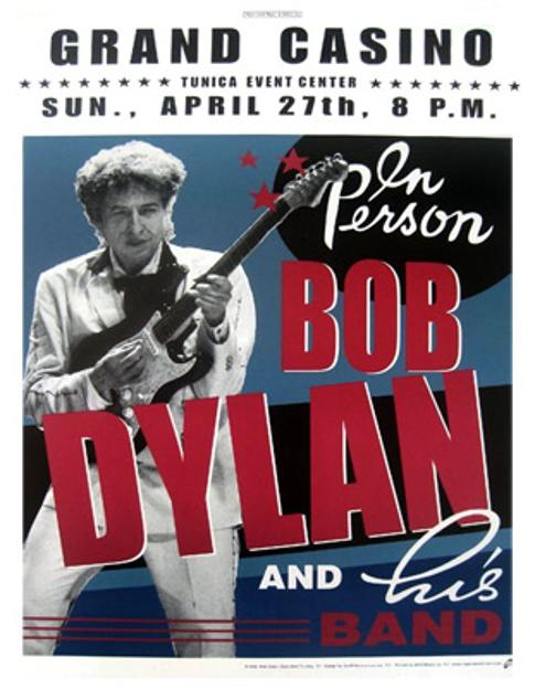 Bob-Dylan-memorabilia-concert-poster-grand-casino-tunica-event-center-MS-sunday-27th-april-2003-in-person-and-his-band-Geoff-Gans-original-bag-framed