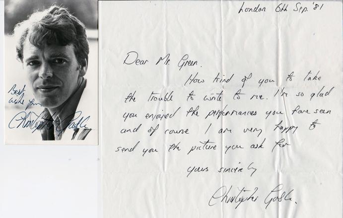 CHRISTOPHER GABLE autograph & signed Theatre TV & Movie memorabilia