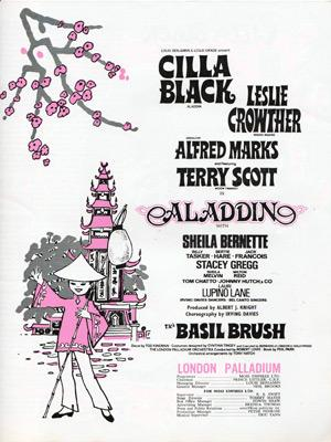 Cilla-Black-memorabilia-Aladdin-pantomime-stage-show-london-palladium-souvenir-brochure-theatre-Leslie-Crowther-Terry-Scott-Alfred-Marks-Basil-Brush-1970