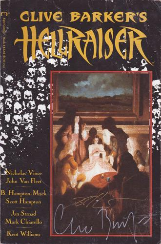 Clive-Barker-autograph-signed-hellraiser-memorabilia-book-volume-4-1990-nicholas-vince-signature-bunny-hampton-mack-writer-graphic-novel-horror-epic-comics-1990