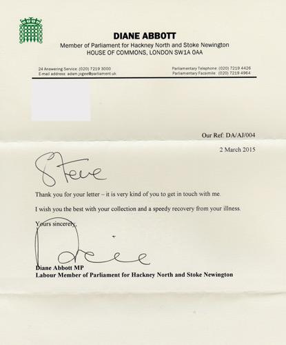 Diane-Abbott-autograph-signed-political-memorabilia-labour-party-uk-politics-house-of-commons-hackney-mnorth-stoke-newington-mp-minister-of-parliament