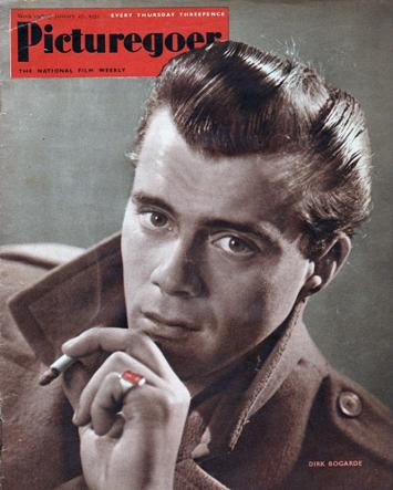 Dirk-Bogarde-memorabilia-picturegoer-magazine-cover-photo-january-jan-1951-the-servant-victim-death-in-venice-night-porter-darling-The-Woman-in-Question-Bob-Baker