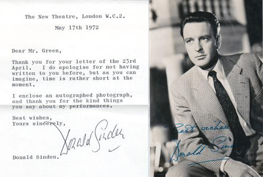 Donald-Sinden-autograph-movie-film-tv memorabilia-signed-photo-letter-mogambo- doctor in the house at large twos company