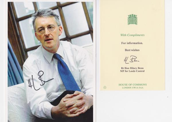 Hilary-Benn-autograph-signed-political-memorabilia-labour-party-uk-politics-house-of-commons-leeds-north-foreign-secretary-mp-minister-of-parliament