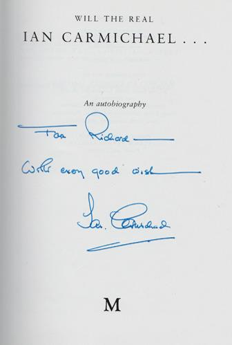 Ian-Carmichael-autograph-signed-book-autobiography-will-the-real-Lord-peter-wimsey-im-alright-jack-privates-progress-signature