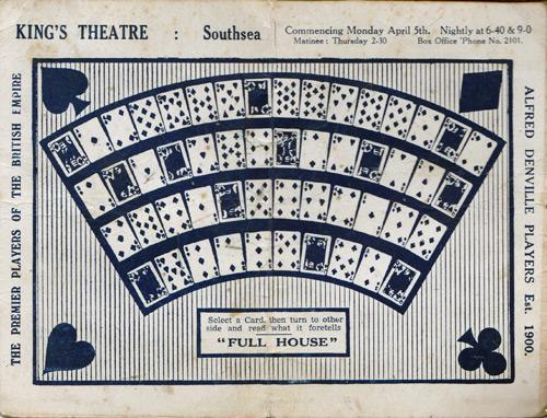 Ivor-Novello-memorabilia-full-house-1936-stage-play-light-comedy-kings-theatre-southsea-playing-cards-pick-a-card-fortune-telling-suits