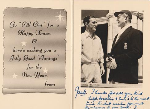 Jack-Warner-autograph-jack-warner-memorabilia-dixon-of-dock-green-signed-cricket-memorabilia-len-hutton-memorabilia-xmas-christmas-card-The-Final-Test-1953