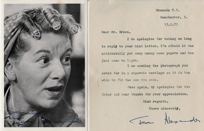 Jean-Alexander-Hilda-Ogden-Coronation-Street-autograph-signed-tv-soap-star-memorabilia-photo-letter-Last-of-the-Summer-Wine-Hilda-Ogden-Coronation-Street-Z-Cars-Auntie-Wainwright