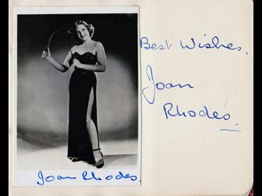 Joan-Rhodes-autograph-Joan-Rhodes-memorabilia-signed-music-hall-memorabilia-strongwoman-act-Fanny-by-Gaslight-Pink-Panther-Burke-and-Hare-Elephant-Man-Bob-Hope