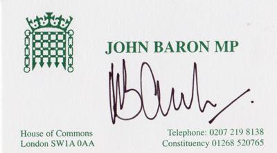 John Baron-autograph-signed-political-memorabilia-conservative-party-uk-politics-tory-mp-Basildon Billericay-house-of-commons-minister-of-parliament