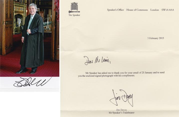 John-Bercow-autograph-signed-political-memorabilia-conservative-party-uk-politics-tory-mp-sir-speaker-house-of-commons-minister-of-parliament