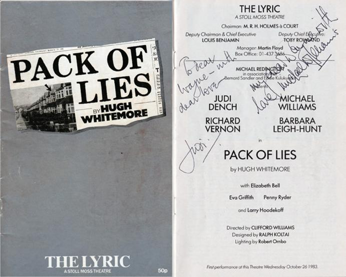 Judi-Dench-autograph-signed-stage-memorabilia-Pack-of-Lies-Lyric-theatre-Dame-M-James-Bond-007-Michael-Williams