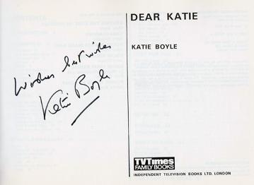 Katie-Boyle-autograph-signed-television-memorabilia-eurovision-song-contest-whats-my-line-tv-times-magazine-agony-aunt-dear-katie-1975-book-signature