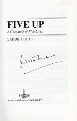 Laddie-Lucas-memorabilia-Laddie-Lucas-autograph-signed-golf-memorabilia-autobiography-Five-Up-Princes-Golf-Club-RAF-Spitfire-pilot-DSO-Battle-of-Britain-MP-Wee-Laddie-signature
