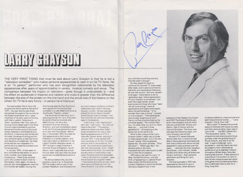 Larry-Grayson-autograph-signed-tv memorabilia theatre programme generation game signature shut that door comedian host