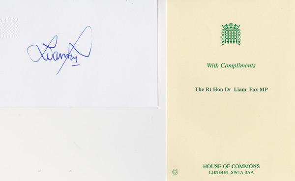Liam-Fox-autograph-signed-political-memorabilia-conservative-party-uk-politics-tory-mp-North-Somerset-house-of-commons-defence-minister-of-parliament