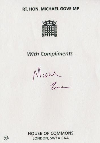 Michael-Gove-autograph-signed-political-memorabilia-conservative-party-uk-politics-tory-mp-sir-surrey-heath-education-chief-whip-lord-chancellor-house-of-commons-minister-of-parliament