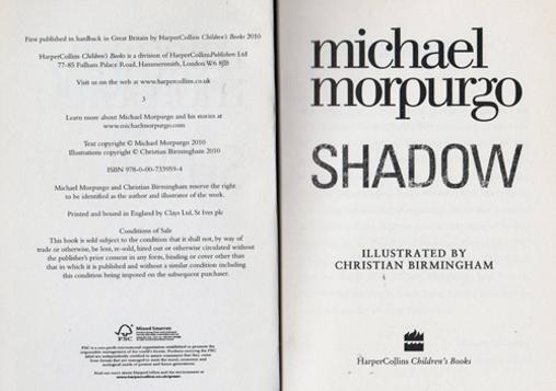 Michael-Morpurgo-autograph-signed-book-shadow-2010-war-horse-harper-collins-childrens-Laureate-fiction-sir-novel-writer-author-dog-afghanistan