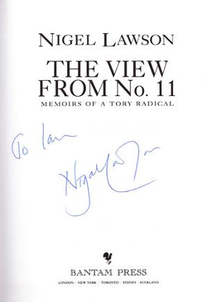 NIGEL-LAWSON-signed-book-The-View-from-Number-11-political-autobiography-autographed-conservative party memorabilia
