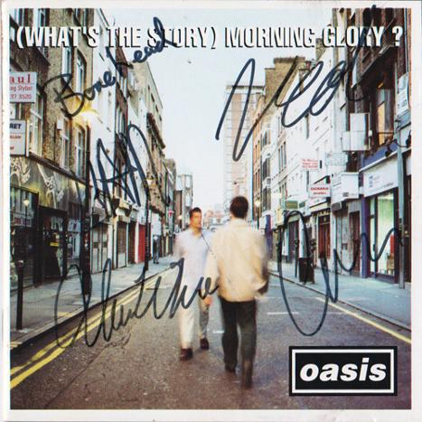 Oasis-memorabilia-Noel-Gallagher-autograph-Liam-Gallagher-signed-Paul-McGuigan-Guigsy-Paul-Arthurs-Bonehead-Alan-White-Creation-Records-Morning-Glory