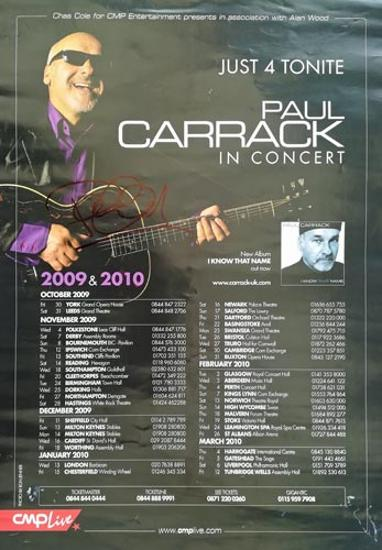 Paul-Carrack-autograph-signed-2009-concert-tour-poster-music-memorabilia-signature