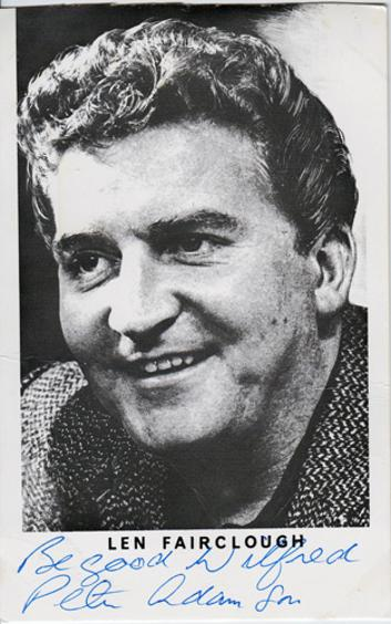 Peter-Adamson-Len-Fairclough-Coronation-Street-autograph-signed-tv-soap-memorabilia-Skyport-Knight-Errant-Limited-Dial-M-for-Murder-corrie-weatherfield-rovers-return
