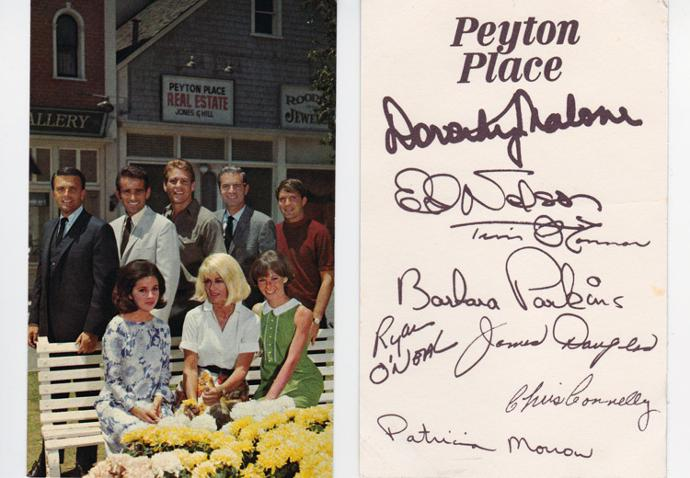 Peyton-Place-signed-tv-memorabilia-television-star-legend-autograph-mia-farrow-ed-nelson-dorothy-malone-ryan-oneal-patricia-morrow-chris-connelly-tim-oconnor-barbara-parkins