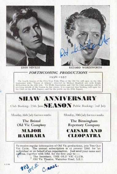 Richard-Wordsworth-autograph-signed-old-vic-theatre-memorabilia-shakespeare-Lock-Up-Your-Daughters-The-Quatermass-Xperiment-Victor-Carroon-signature