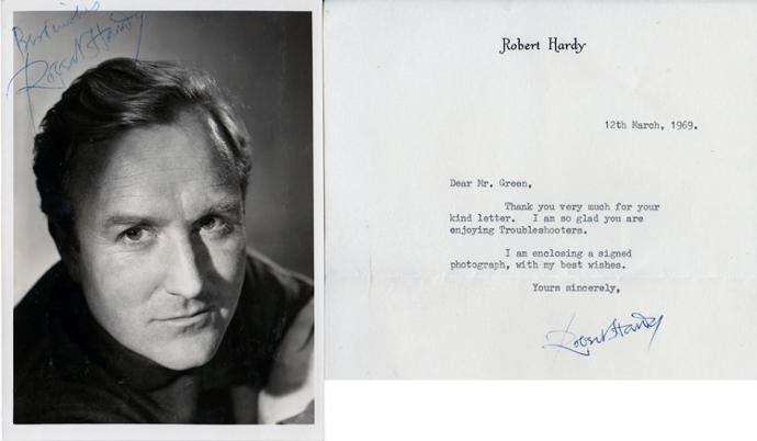 Robert-Hardy-autograph-signed-tv-movie-memorabilia-Troubleshooters-All-Creatures-Great-and-Small-Siegfried-Farnon-Winston-Churchill-Cornelius-Fudge-Harry-Potter-Shooting-Party-Middlemarch