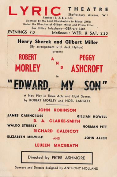 Robert-Morley-Peggy-Ashcroft-movie-film-legend-autograph-signed-memorabilia-playbill-Edward-My-Son-lyric-theatre