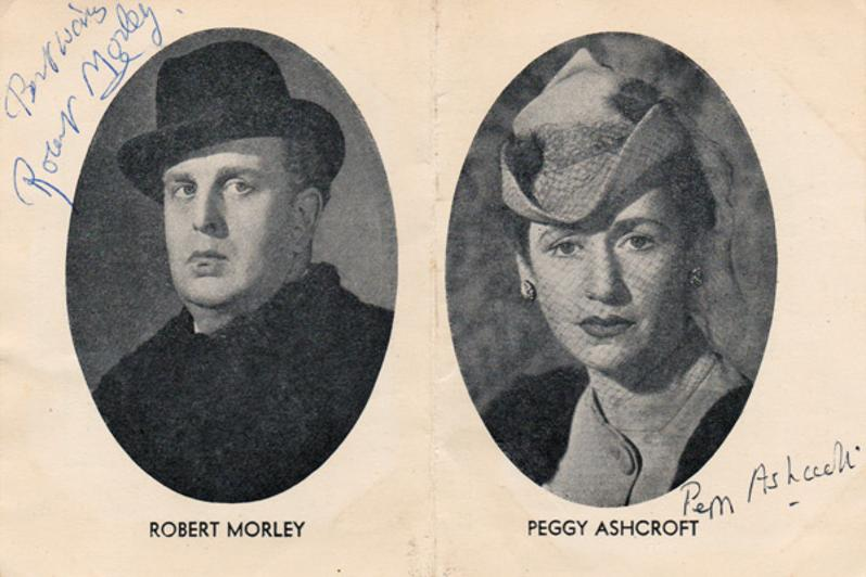 Robert-Morley-Peggy-Ashcroft-movie-film-legend-autograph-signed-memorabilia-playbill-Edward-My-Son