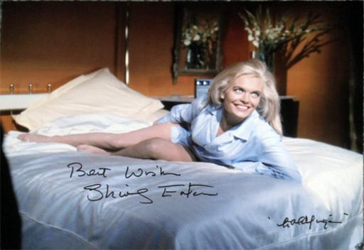 Shirley-Eaton-autograph-signed-Goldfinger-movie-007-film-james-bond-memorabilia-jill-masterson-gold-paint-girl-carry-on-actress-1964