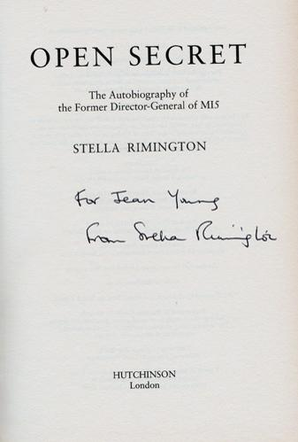 Stella-Rimington-autograph-signed-autobiography-Open-Secret-book-Director-General-MI5-MI6-M-Rimmington-secret-service-spies-signature