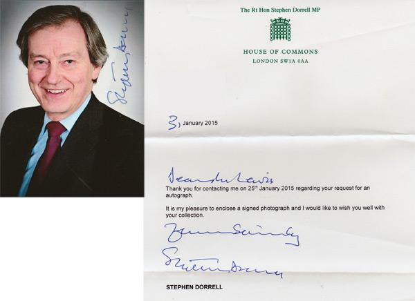Stephen-Dorrell-autograph-signed-political-memorabilia-conservative-party-uk-politics-tory-mp-sir-loughborough-charnwood-house-of-commons-minister-of-parliament