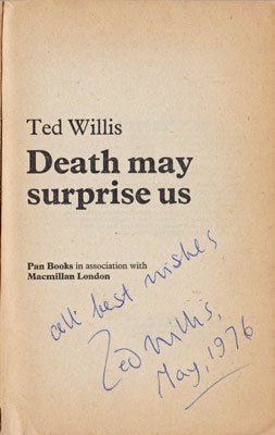 Ted-Willis-autograph-signed-book-Death-May-Surprise-Us.-first-edition-pan-paperback-1976-lord