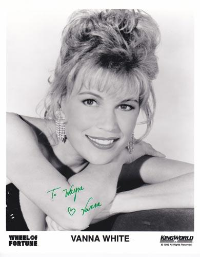 Vanna-White-autograph-signed-Wheel-of-Fortune-memorabilia-tv-hostess-kingworld television