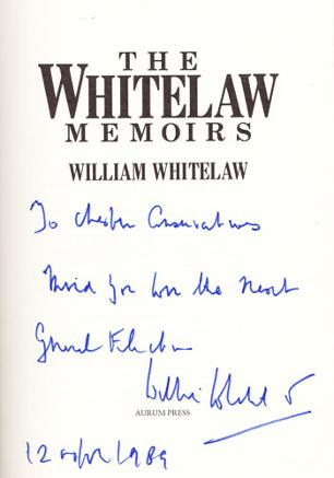 WILLIAM-WHITELAW-signed-The Whitelaw Memoirs-political-autobiography-Willie-autographed-memorabilia-viscount minister